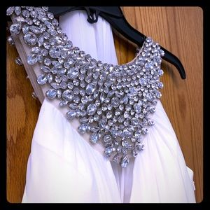 White jeweled collar evening gown NWT small